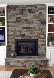 Decoration, The Fanciful Wooden Material For A Mantel With Black  Contemporary Living Room: Stone. Stone Veneer FireplaceStacked ...