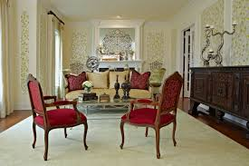 palatial red fabric seater arm chairs wooden frames as well as mid century couch cushions as well as white traditional fireplace mantel decors in awesome