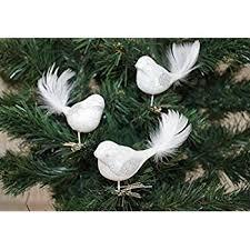 3 Tlg Glas Vogel Set In Hochglanz Weiss Silber Neuheit Christbaumkugeln Weihnachtsschmuck Christbaumschmuck
