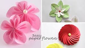 Easy Paper Flower 3 Easy Paper Flowers Youtube