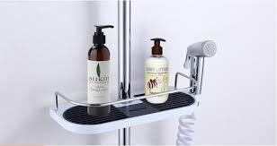 Wall Hanging Bathroom Pole Shelf Shower Storage Rack Shampoo Bath