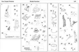 vax v 124a dual v carpet washer spares parts ransom spares diagram 1 ref 0