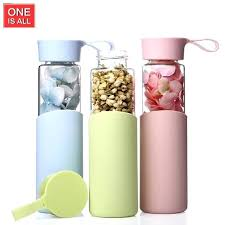color glass jar candy color glass water bottle portable my water bottle with silicone sleeve sport