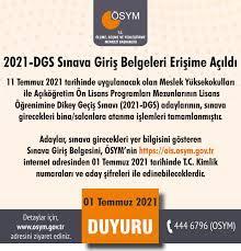 """ÖSYM on Twitter: """"2021-DGS Sınava Giriş Belgeleri Erişime Açıldı  https://t.co/HThys55za8… """""""