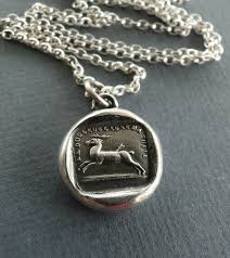 pain causes me to flee sterling silver necklace amulet pendant antique wax seal pendant sterling silver handmade stag or deer