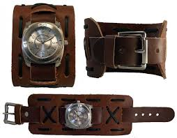 nemesis dlx brown wide band mens leather cuff watch new