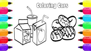 Food And Soft Drinks Coloring Pages | Coloring Book Cake, Milk ...