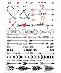 Hand Drawn Wedding Arrows Set Ampersand Arrow Black Border