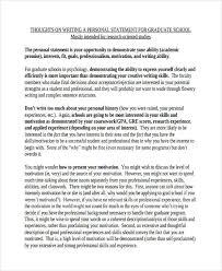 Psychology Personal Statement Example 10 Grad School Personal Statement Example Proposal Bussines