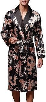 Mens Designer Loungewear Clothing Vernassa Mens Satin Robe Silk Long Sleeve Kimono Bathrobe Sleepwear Loungewear