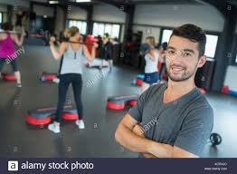 gym instructor gym instructor posing stockfoto bild 283267556 alamy