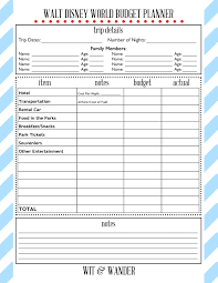 vacation budget planner free printables walt disney free printable and disney trips