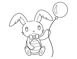 Easter bunny with eggs coloring page. Printable Easter Bunny And Balloon Coloring Page