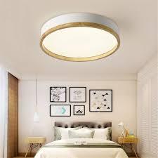 Jinwell Holz Deckenleuchte Weiß Runde Schlafzimmer Lampe Wohnzimmer Lampe Moderne Minimalistische Massivholz Schlafzimmer Deckenleuchte Led Runde