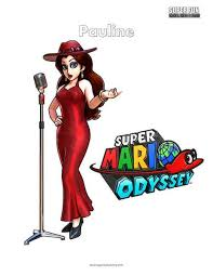 Pauline Nintendo Coloring Super Mario Odyssey Super Fun Coloring