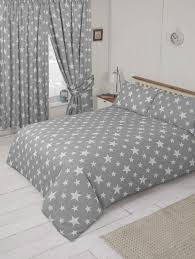 grey white children s kids teenager trendy stars design duvet cover or curtains