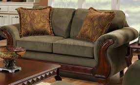 Paisley Sofa fabric traditional sofa & loveseat set wcarved wood legs 3752 by xevi.us