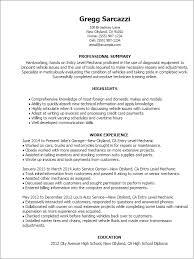Resume Templates: Entry Level Mechanic