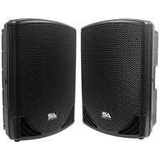concert stage speakers. mainshock-15 - pair of powered 15\ concert stage speakers e