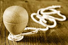 Wooden Spinning Top Game Wooden Spinning Top With A String Coiled In Its Axis In Sepia T 71