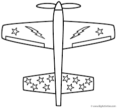 Airplane with Stars - Coloring Page (Transportation)