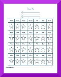 Monthly Reward Chart Template Star Charts For Kids