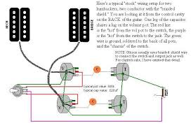deaf eddie's collection of drawings and info Volume Pot Wiring Diagram two humbuckers, gibson style braided shield leads, gibson volume pot scheme volume potentiometer wiring diagram