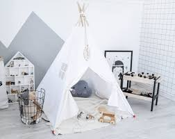 White Teepee Tent, Childrens Teepee, Canvas Teepee Tent, Play Teepee,  Canvas Teepee, Play House, Teepee Set, Girl Teepee,Tipi