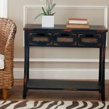 black sofa table with drawers. Safavieh April Distressed Java Storage Console Table Black Sofa With Drawers E
