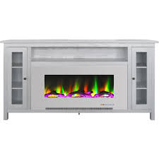 white electric fireplace tv stand in multi color with led