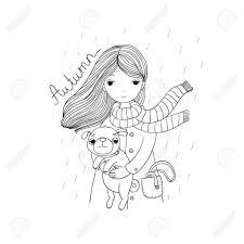 Mooie Cartoon Meisje En Pug Schattige Hond Herfst Thema Intended
