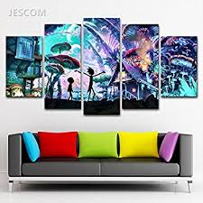jesc 5 panels canvas painting mushroom print on canvas wall art painting modern home decor picture on home decor wall art painting with amazon jesc 5 panels canvas painting mushroom print on canvas