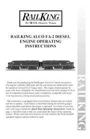 Railking Alco Fa 2 Diesel Engine Operating Instructions