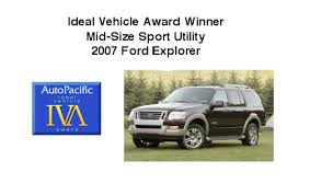 Ford Explorer Wins AutoPacific 2007 Ideal Vehicle Award for Mid-Size Sport  Utility: - VehicleVoice