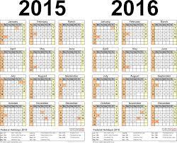 School Calendar 2015 16 Printable 2015 2016 Two Year Calendar Free Printable Word Templates