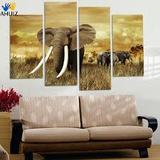 4 ppcs elephant painting canvas wall art picture home decoration living room canvas print modern painting