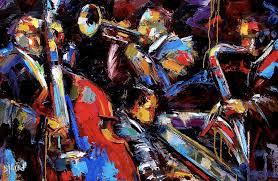 abstract jazz colorful painting instruments quartet fine art by texas artist debra hurd
