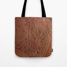 rusty tooled leather tote bag