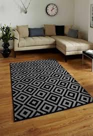 matrix mt89 geometric rugs in black and grey
