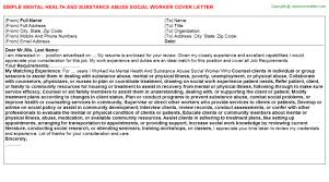 Mental Health And Substance Abuse Social Worker Cover Letter | Cover ...