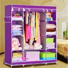 portable wardrobe closet storage organizer with shelving dk wf1610 2