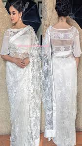 Pearl Designer Blouses Online Designer White Net Saree And Designer Blouse Buy Online