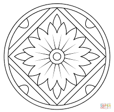 Small Picture Mandala with Floral Pattern coloring page Free Printable