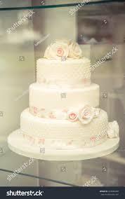 Classic White Wedding Cake Pink Flowers Stock Photo Edit Now