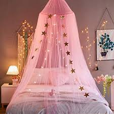 Mengersi Bed Canopy Curtains Net Stars for Girls Boys Adults Playing Games House Bedroom Decoration(Pink)
