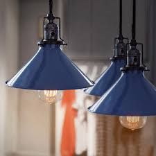 blue cone shade industrial loft pendant