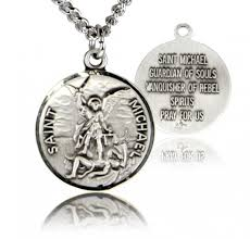 round st michael medal sterling silver