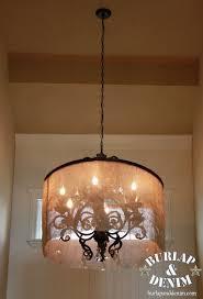 diy barrel shade chandelier burlap denimburlap denim large drum shade chandelier
