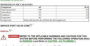Toyota Refrigerant Capacity Chart 2004 Toyota Prius Nd11 Oil Quantity Automotive Air