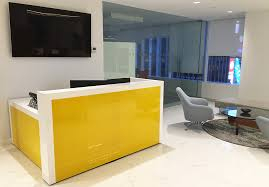 yellow back painted glass reception desk yellow office worktop marble furniture corian p92 corian